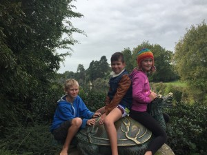 Finlay, Zoe and Blake hanging out in the Chinese Scholar's Garden at Hamilton Gardens