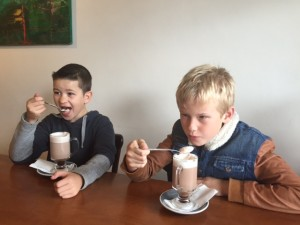 Finlay and Blake enjoying the Scott's Epicurean Hot chocolate